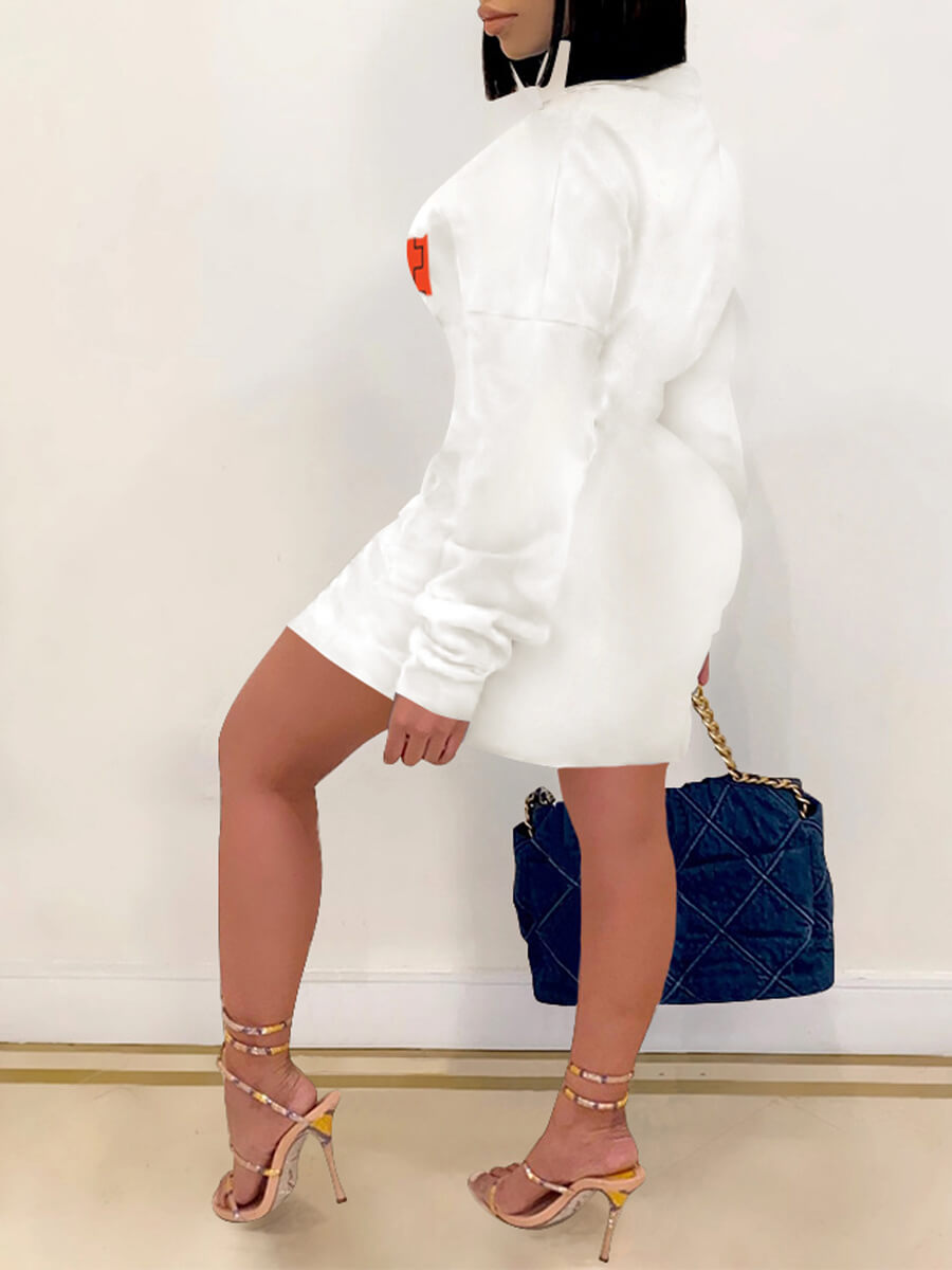 Lovely Sportswear Letter Print Patchwork White Knee Length Dress