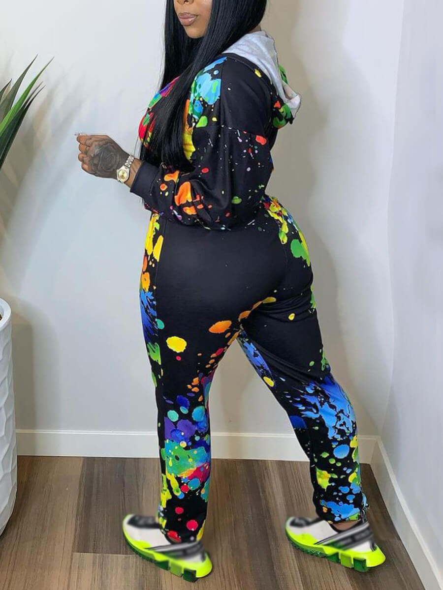LW Casual Hooded Collar Graffiti Print Multicolor Two Piece Pants Set
