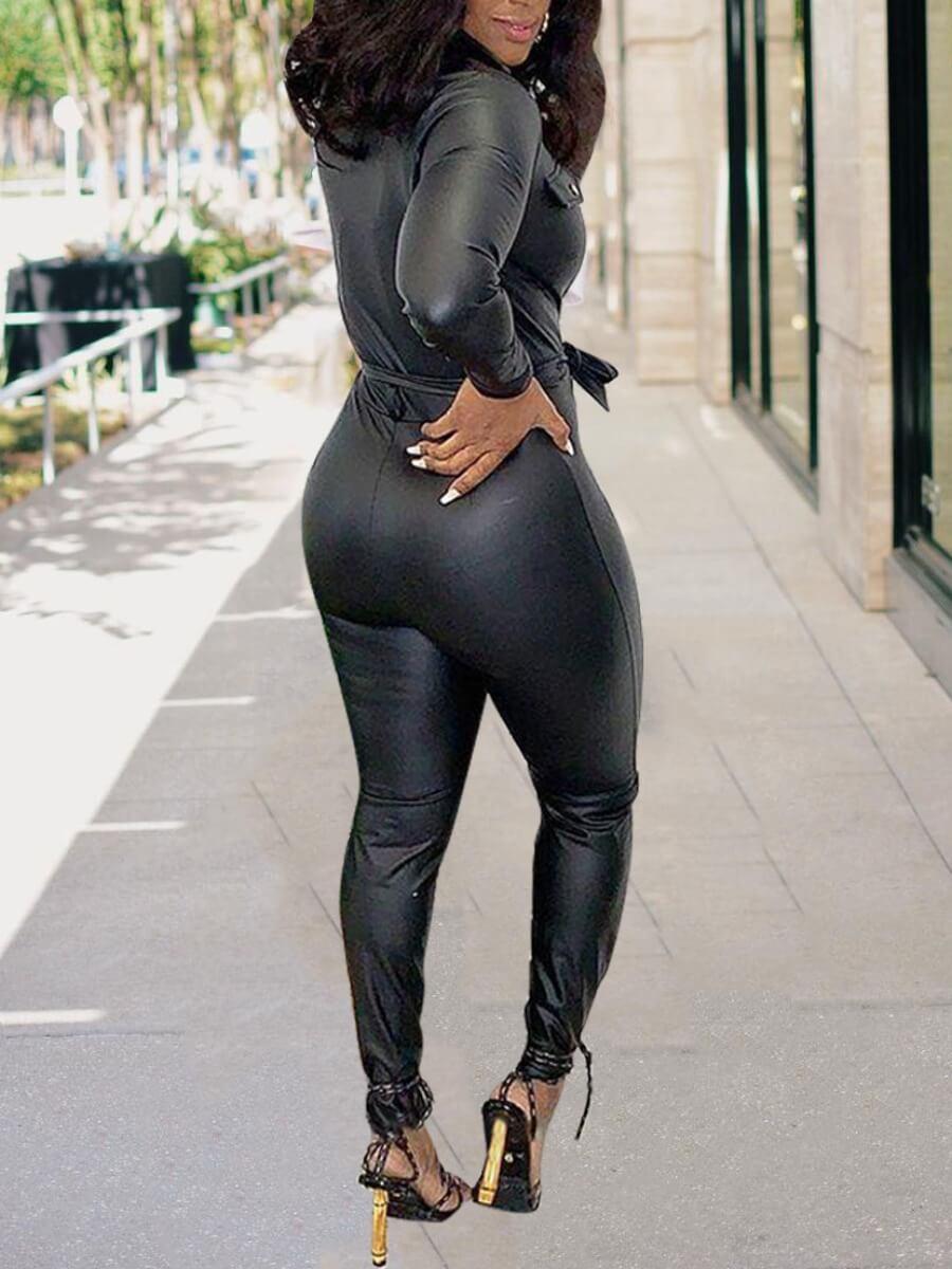 LW BASIC Chic Lace-up Button Design Black One-piece Jumpsuit