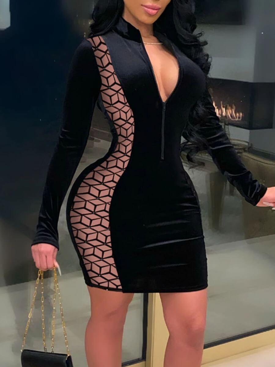 lovelywholesale / LW Lovely Sexy Mandarin Collar Print Patchwork Black Knee Length Dress