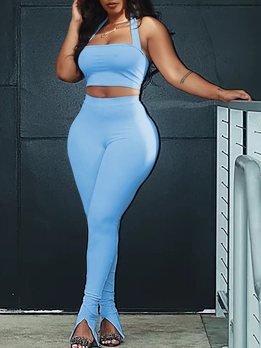 Lovely Sexy Off The Shoulder High-waisted Front Slit Blue Two Piece Pants Set
