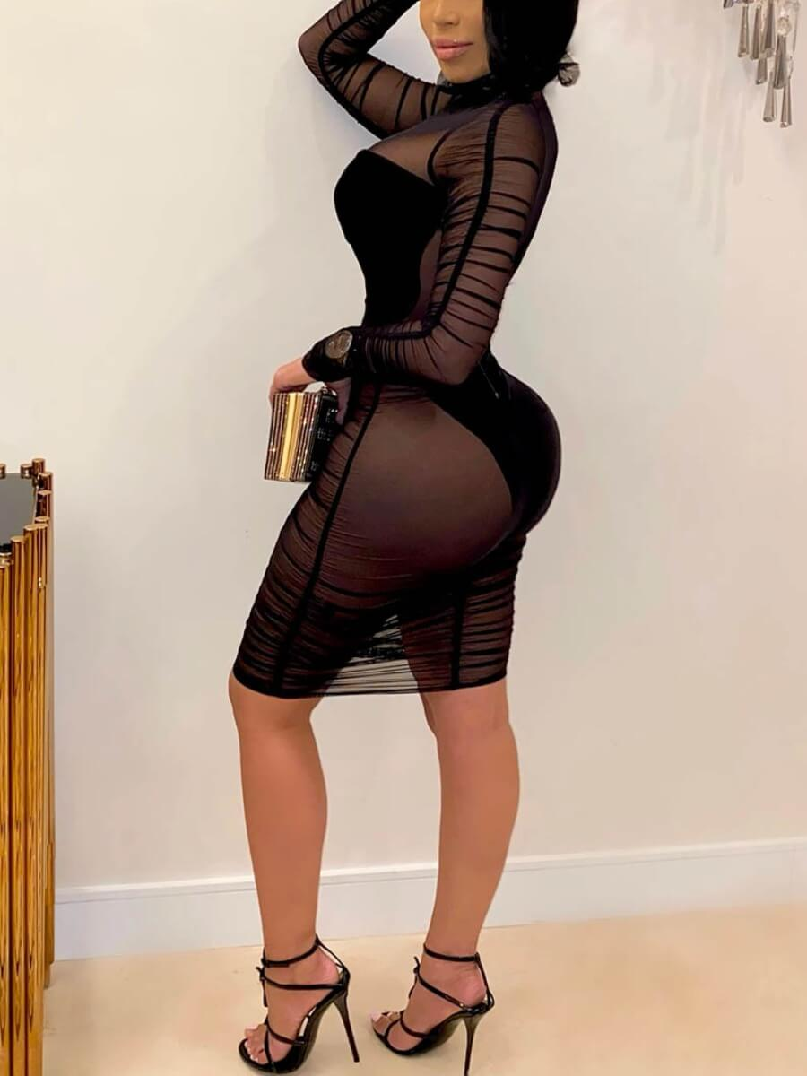 Lovely Sexy See-through Ruffle Design Patchwork Black Knee Length Dress