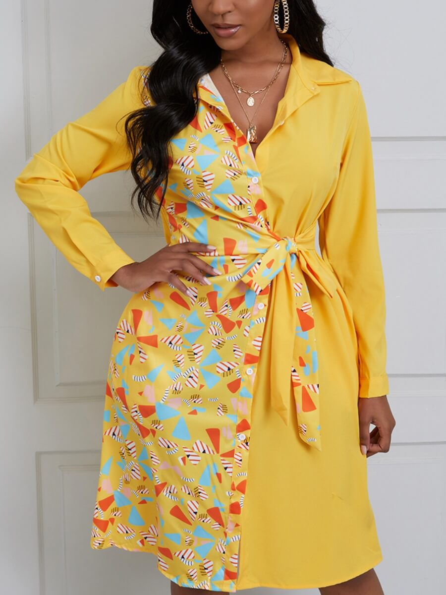 Lovely Casual Geometric Print Patchwork Bandage Design Yellow Knee Length Dress