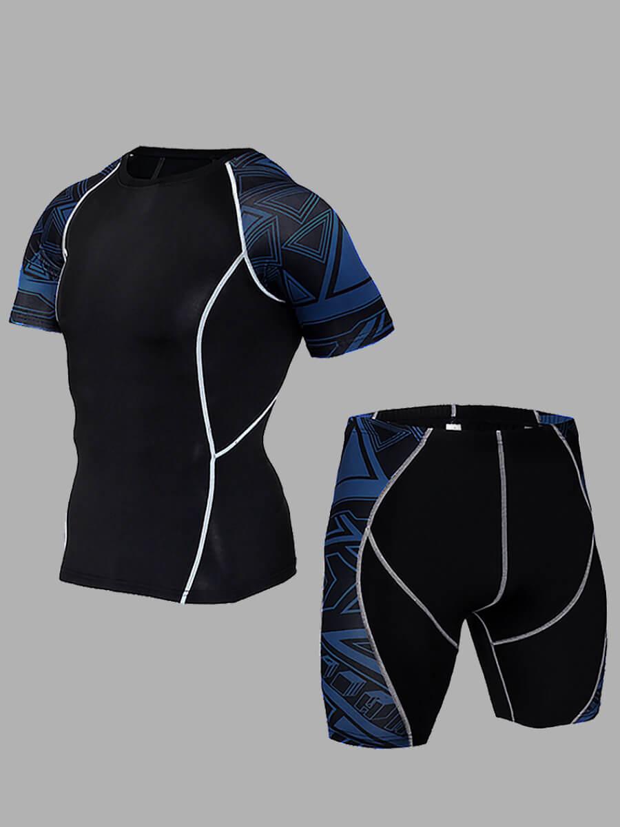 Lovely Men Sportswear Striped Print Patchwork Blue Two Piece Shorts Set