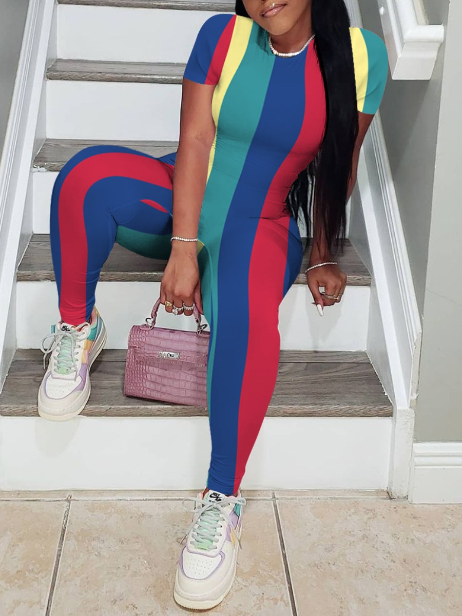 LW Casual O Neck Striped Patchwork Multicolor One-piece Jumpsuit(No-positioning Printing)