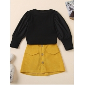 Lovely Casual Button Ruffle Design Black Girl Two