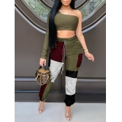 Lovely Sweet One Shoulder Color-lump Patchwork Army Green Two Piece Pants Set