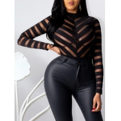 Lovely Sexy Mesh Patchwork Black Base Layer(No-positioning Printing)