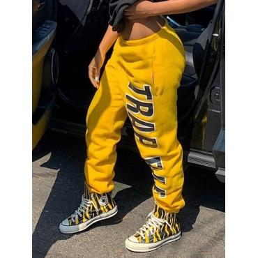 Lovely Street Letter Print Yellow Pants