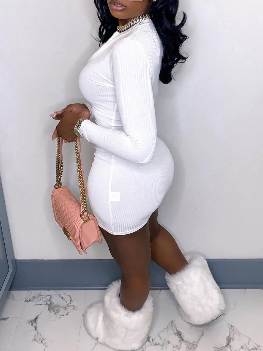 LW BASICS Chic Rib-Knit Zipper Design White Mini Dress