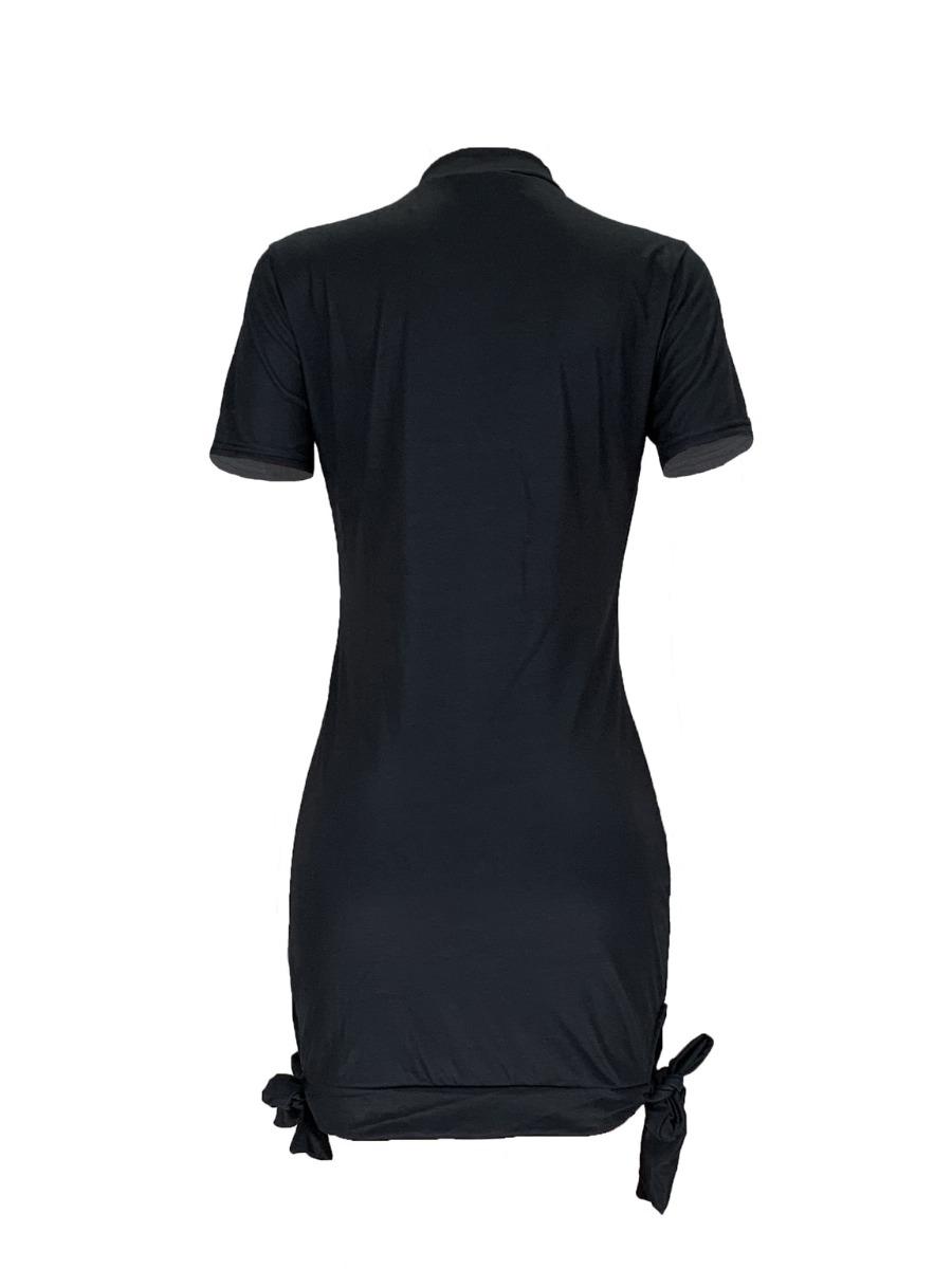 LW Plus Size Street Lip Print Knot Design Black Mini Dress