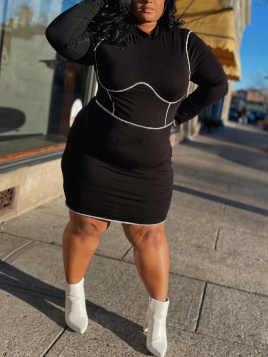 LW Plus Size CasualO Neck Striped Black Knee Length Dress