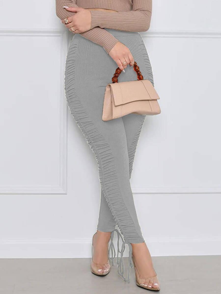 LW Casual Mid Waist Fold Design Drawstring Skinny Grey Pants