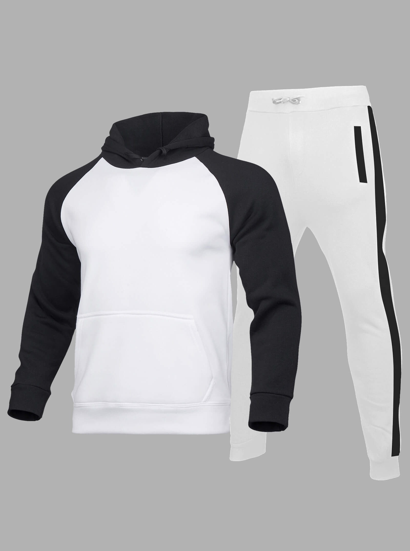 LW Men Sportswear Hooded Collar Color-lump White Two Piece Pants Set