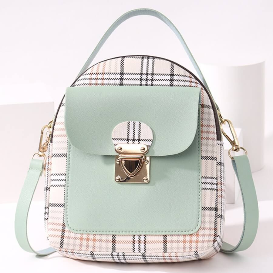 Lovely Casual Plaid Print Patchwork Metal Accessories Decoration Green Crossbody Bag