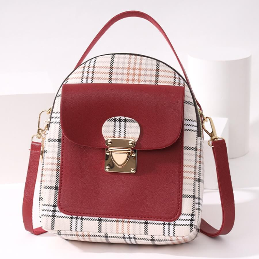 LW Casual Plaid Print Patchwork Metal Accessories Decoration Red Crossbody Bags