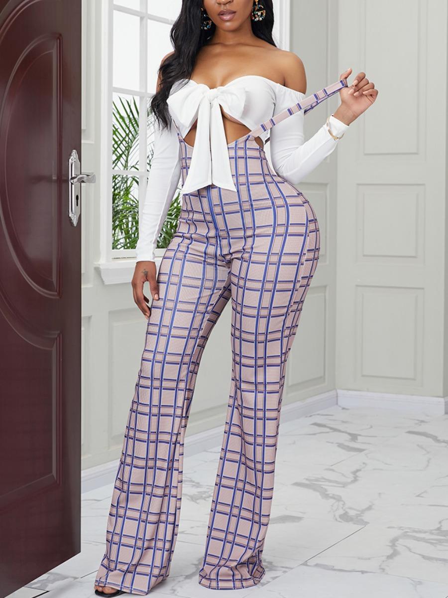 LW Sweet Knot Design Grid Print Khaki Two Piece Pants Set