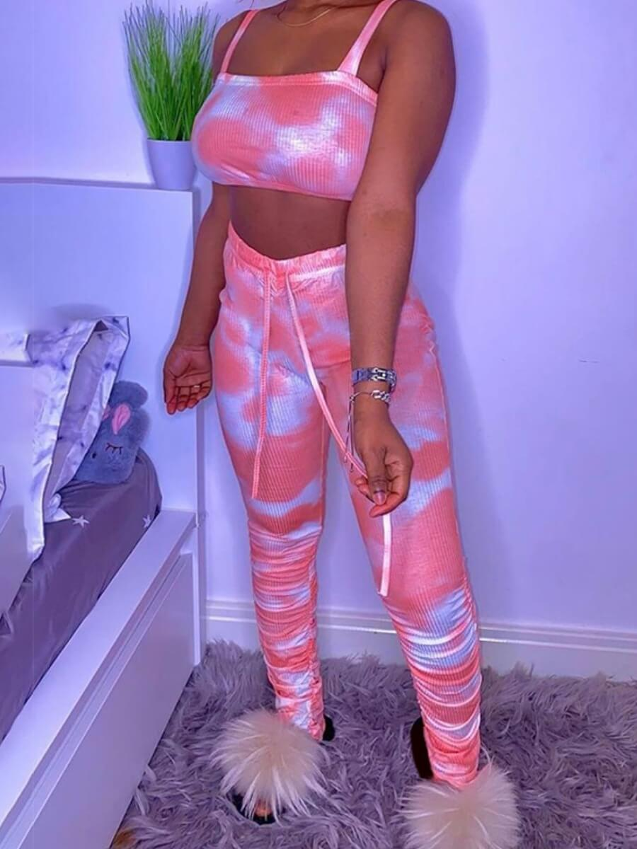 LW Casual Rib-Knit Tie Dye Pink Two Piece Pants Set