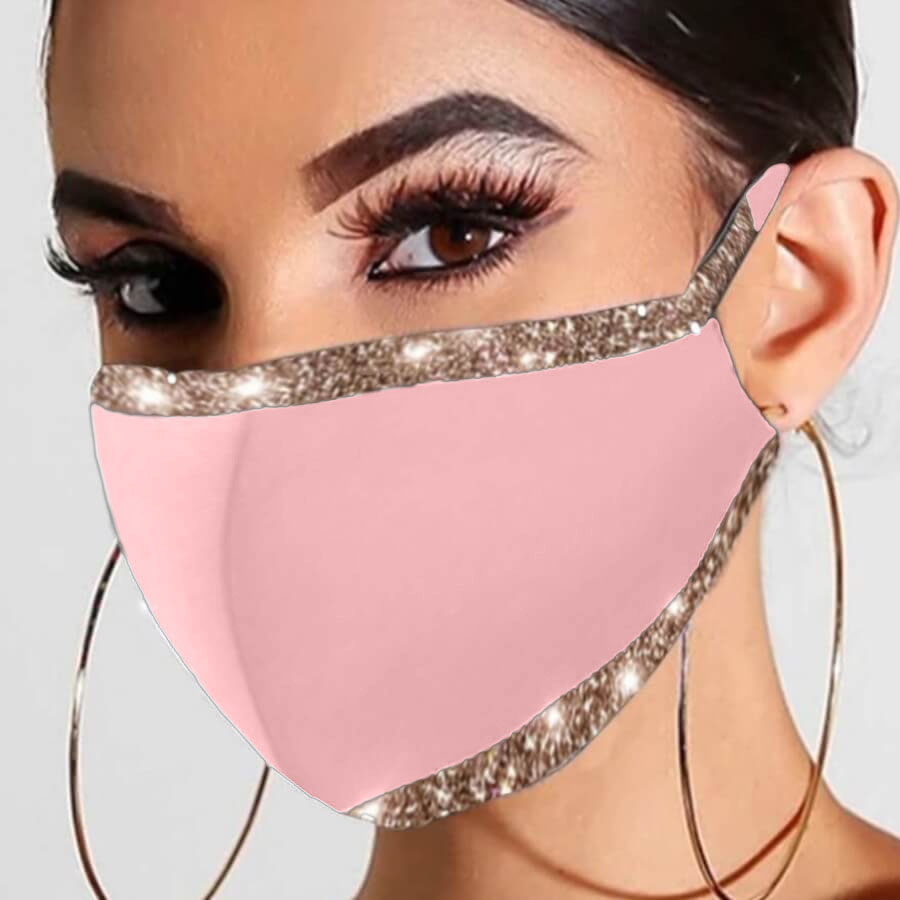 LW COTTON Chic Sequined Patchwork Pink Face Mask