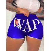 Lovely Street Mid Waist Lip Letter Print Blue Shorts
