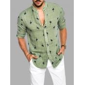 Lovely Casual Turndown Collar Animal Print Green Men Shirt