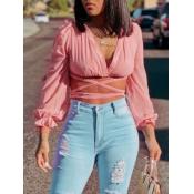 Lovely Sweet V Neck Bandage Fold Design Pink Blouse