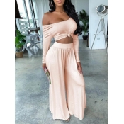 Lovely Work Off The Shoulder Elastic Pink Plus Size Two-piece Pants Set