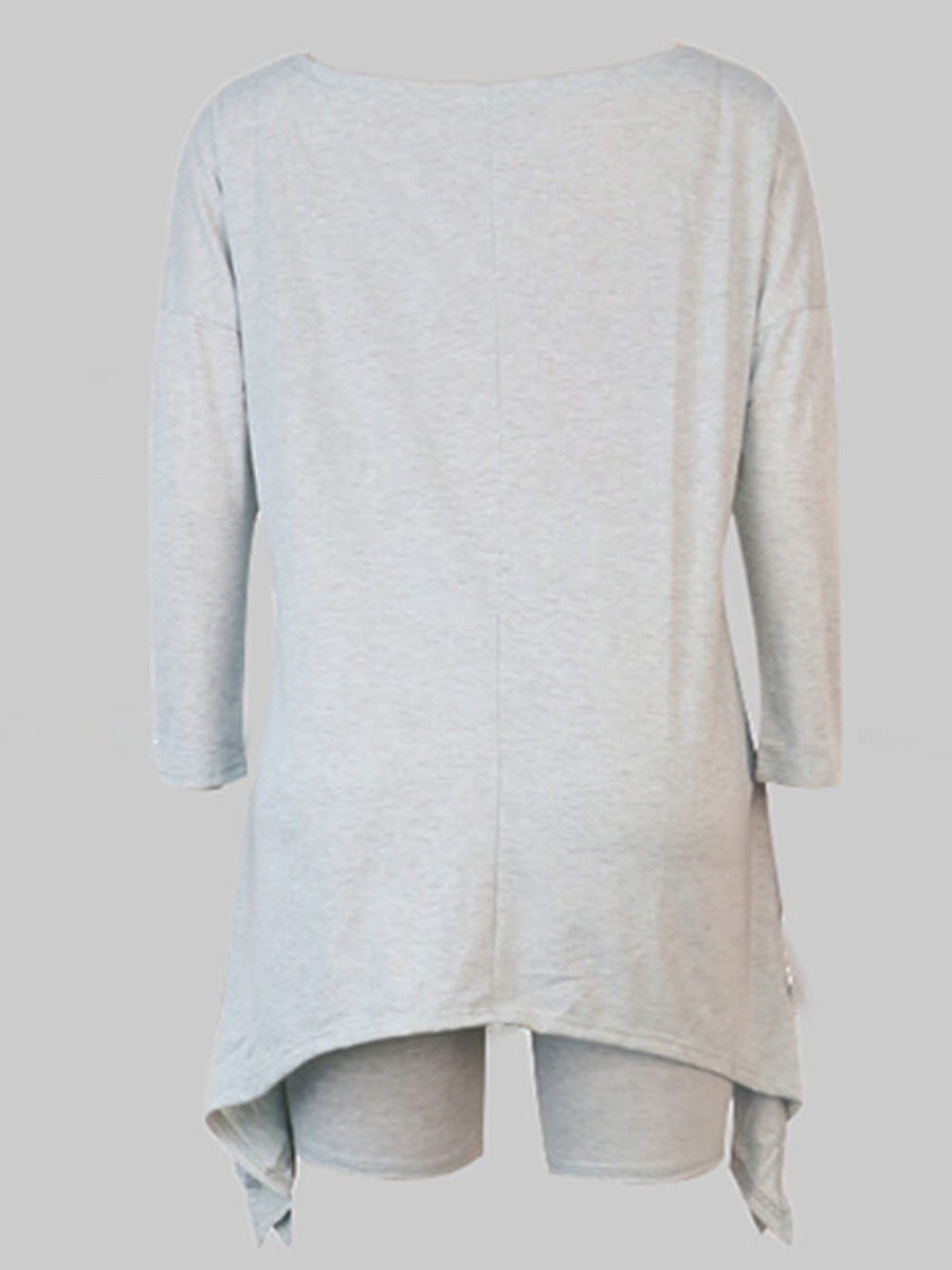 Lovely Casual Asymmetrical Grey Plus Size Two-piece Shorts Set