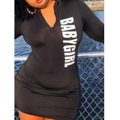Lovely Casual Letter Print Zipper Design Black Mini Plus Size Dress