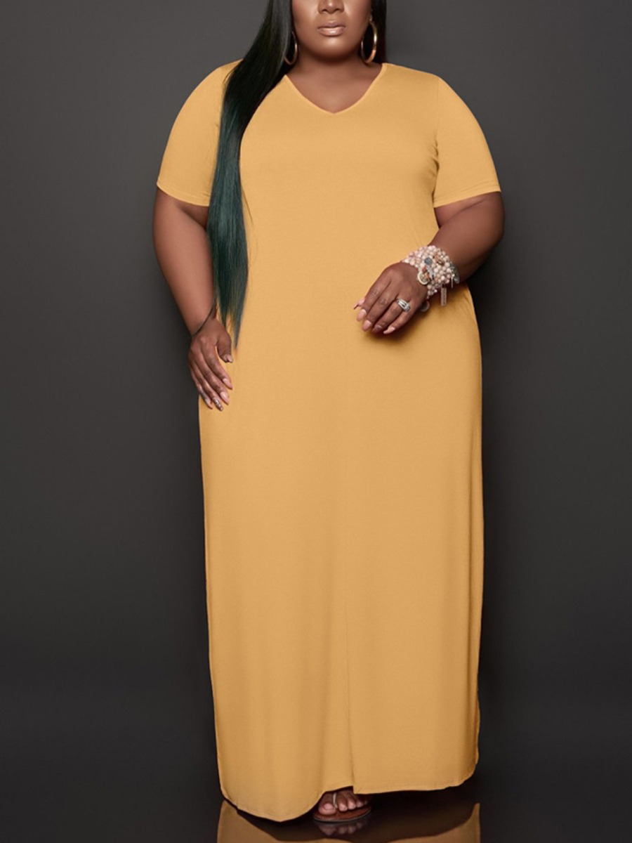 Lovely Plus Size Casual V Neck Loose Yellow Ankle Length Dress