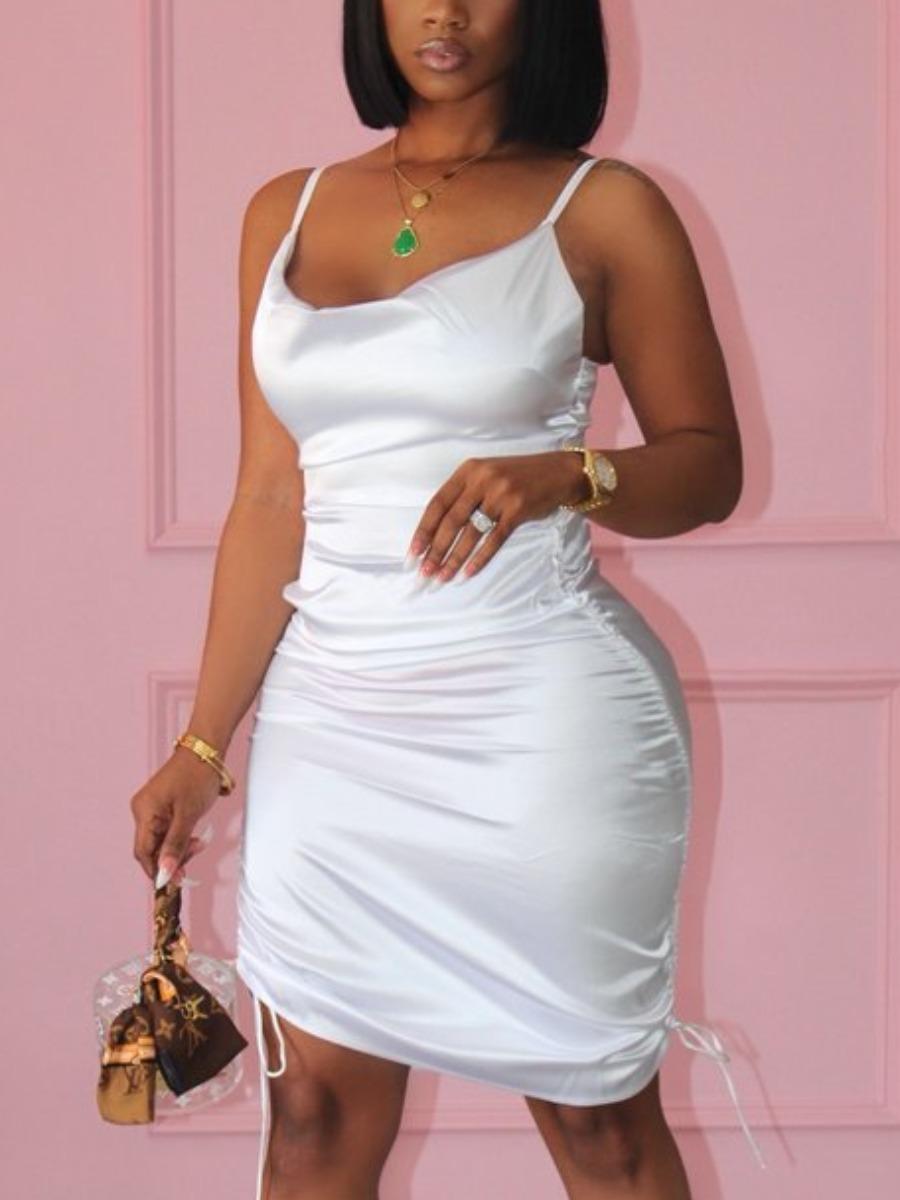 Lovelywholesale coupon: LW Sweet Spaghetti Strap Drawstring White Mini Dress