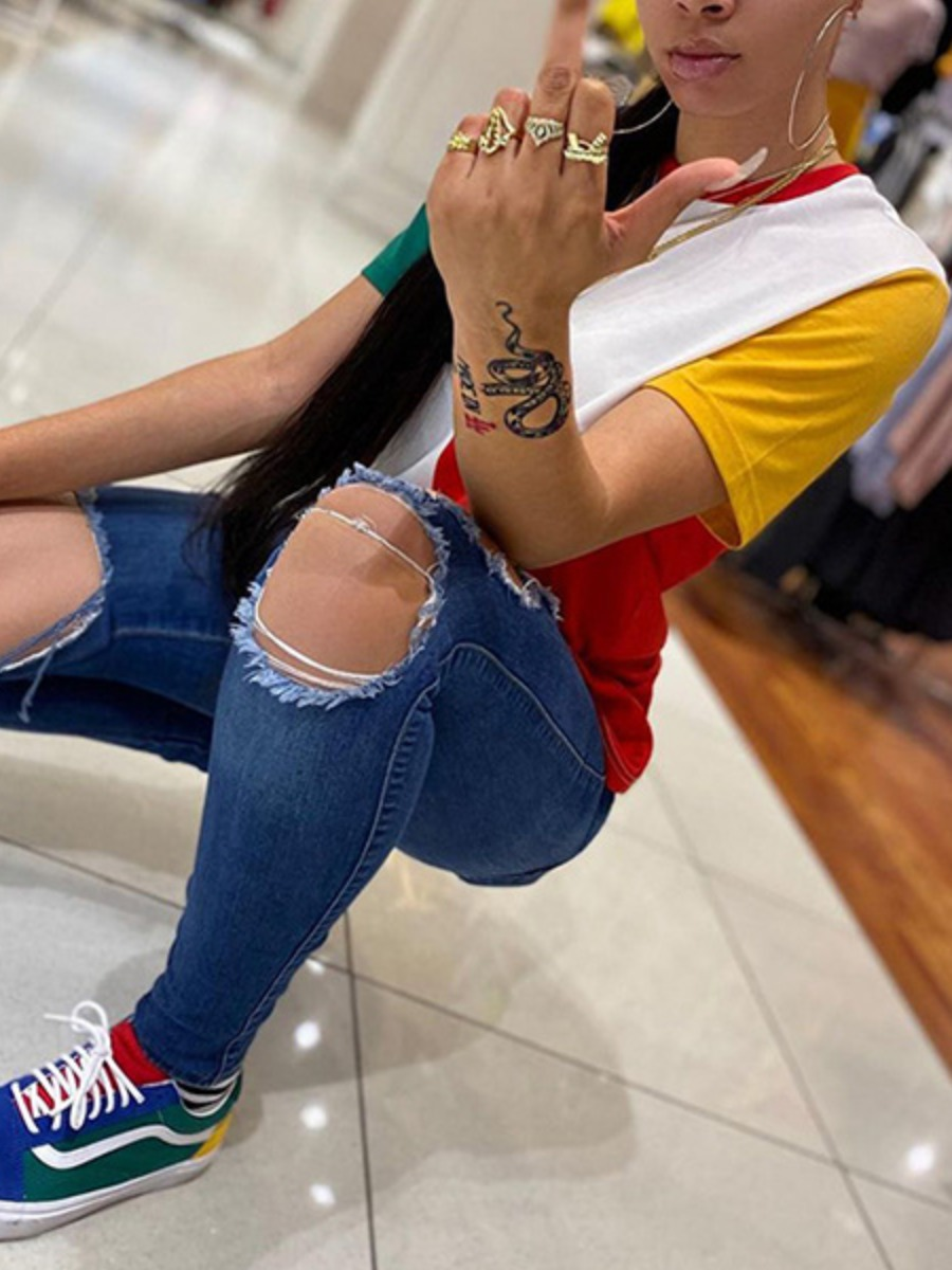 Lovely Street Color-lump Patchwork Multicolor T-shirt