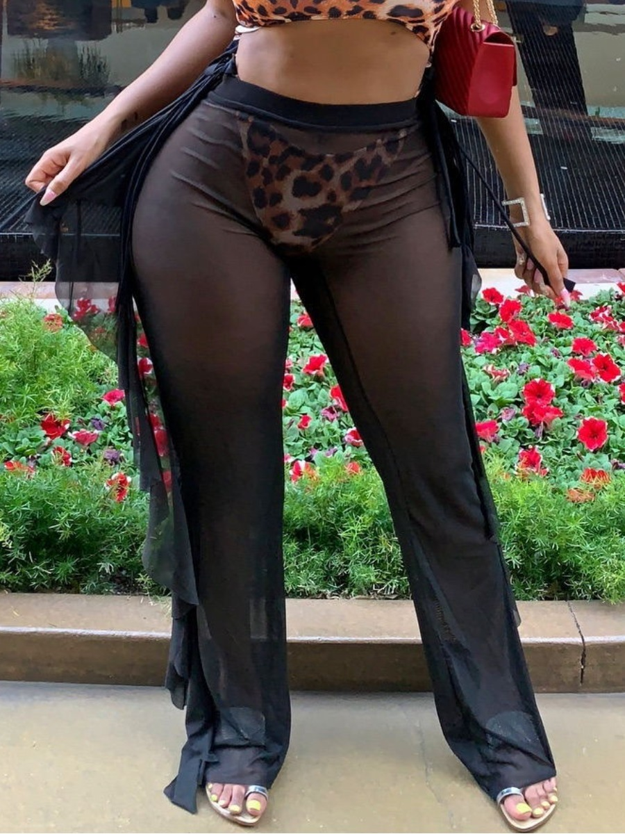 Lovely Boho See-through Flounce Design Black Bikini Bottoms