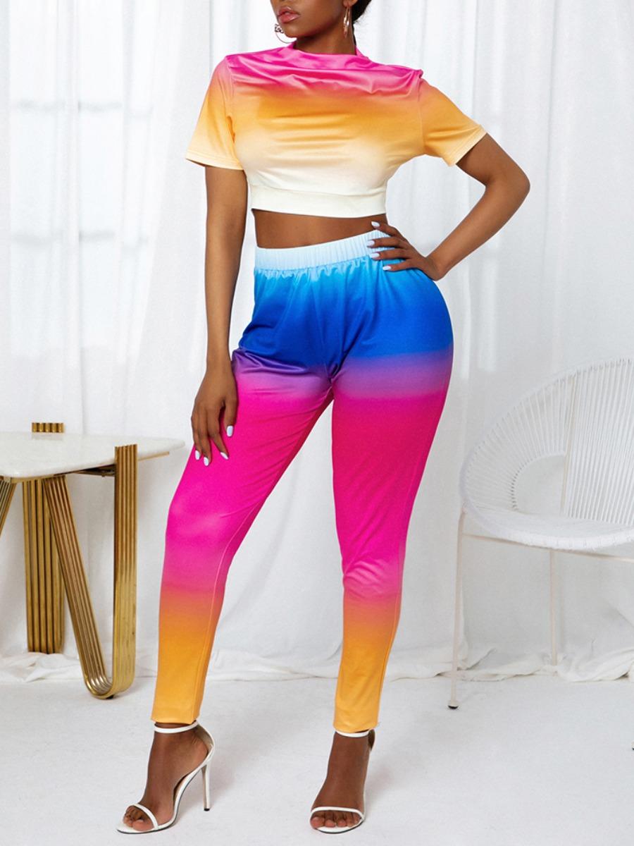 LW Sweet Gradient Crop Top Multicolor Two Piece Pants Set