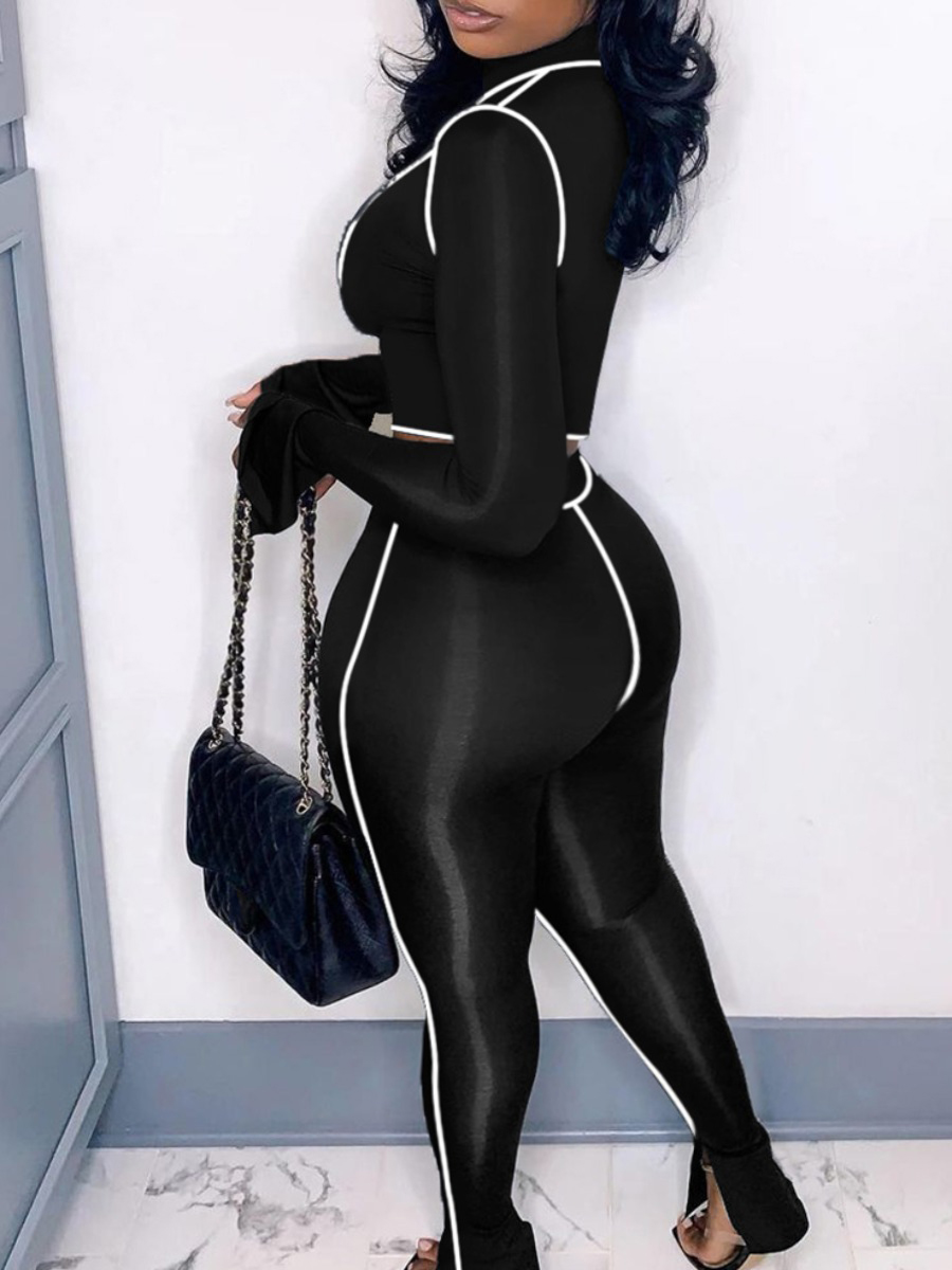 Lovely Sporty O Neck Striped Black Plus Size Two-piece Pants Set