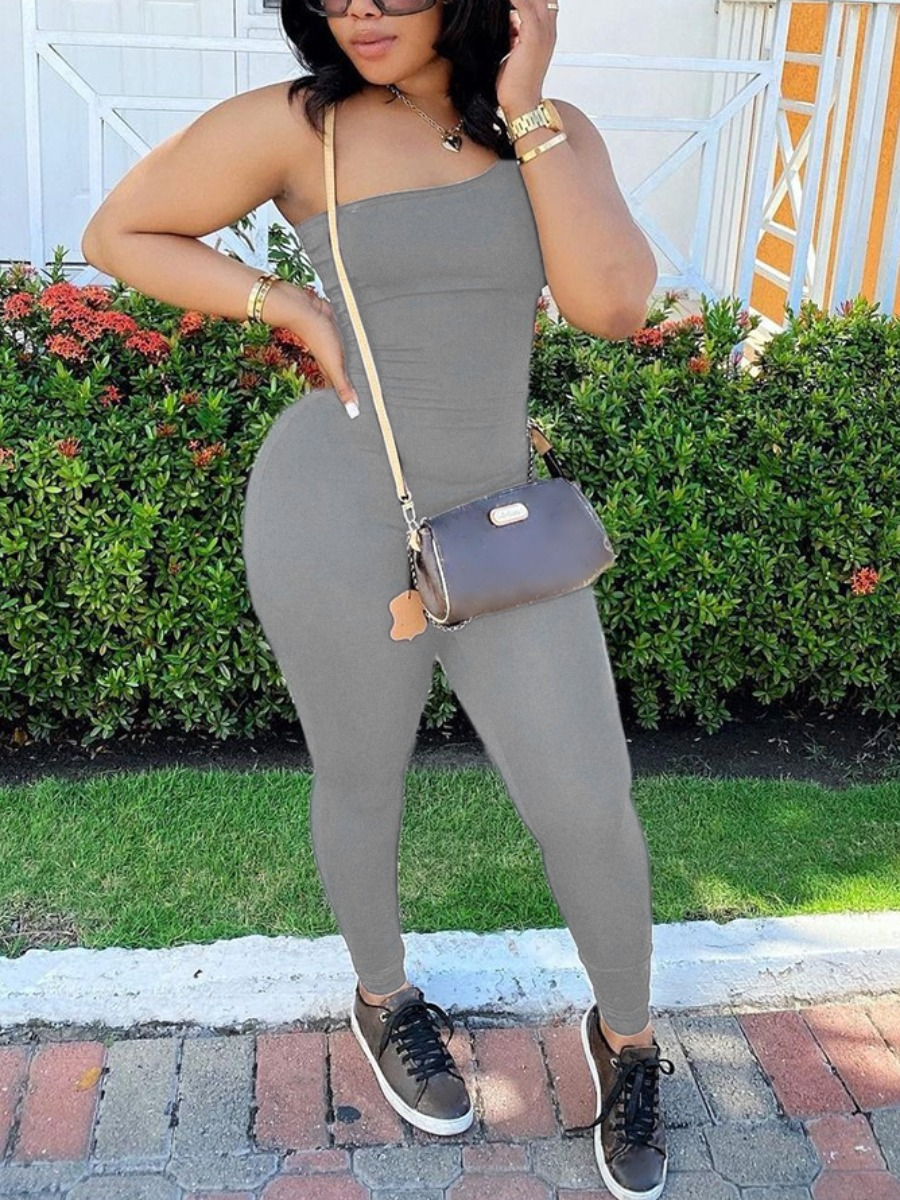Lovely Sporty One Shoulder Bsic Skinny Grey One-piece Jumpsuit