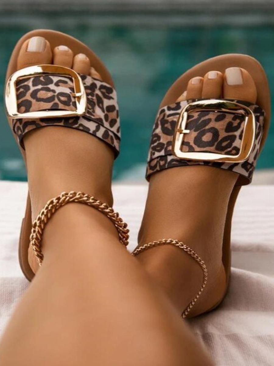LW Street Leopard Print Buckle Design Slippers