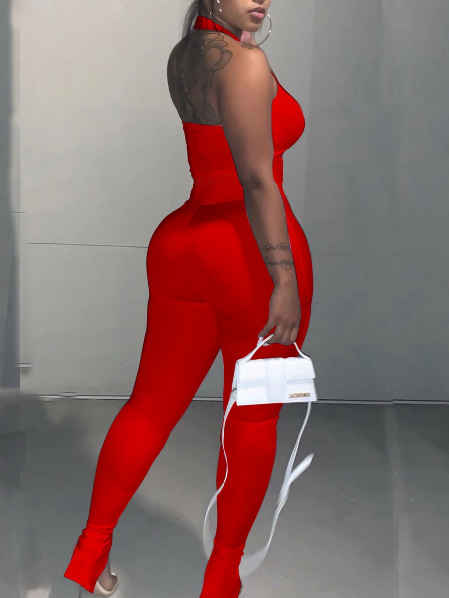 Lovely Street Square Neck Basic Skinny Red One-piece Jumpsuit
