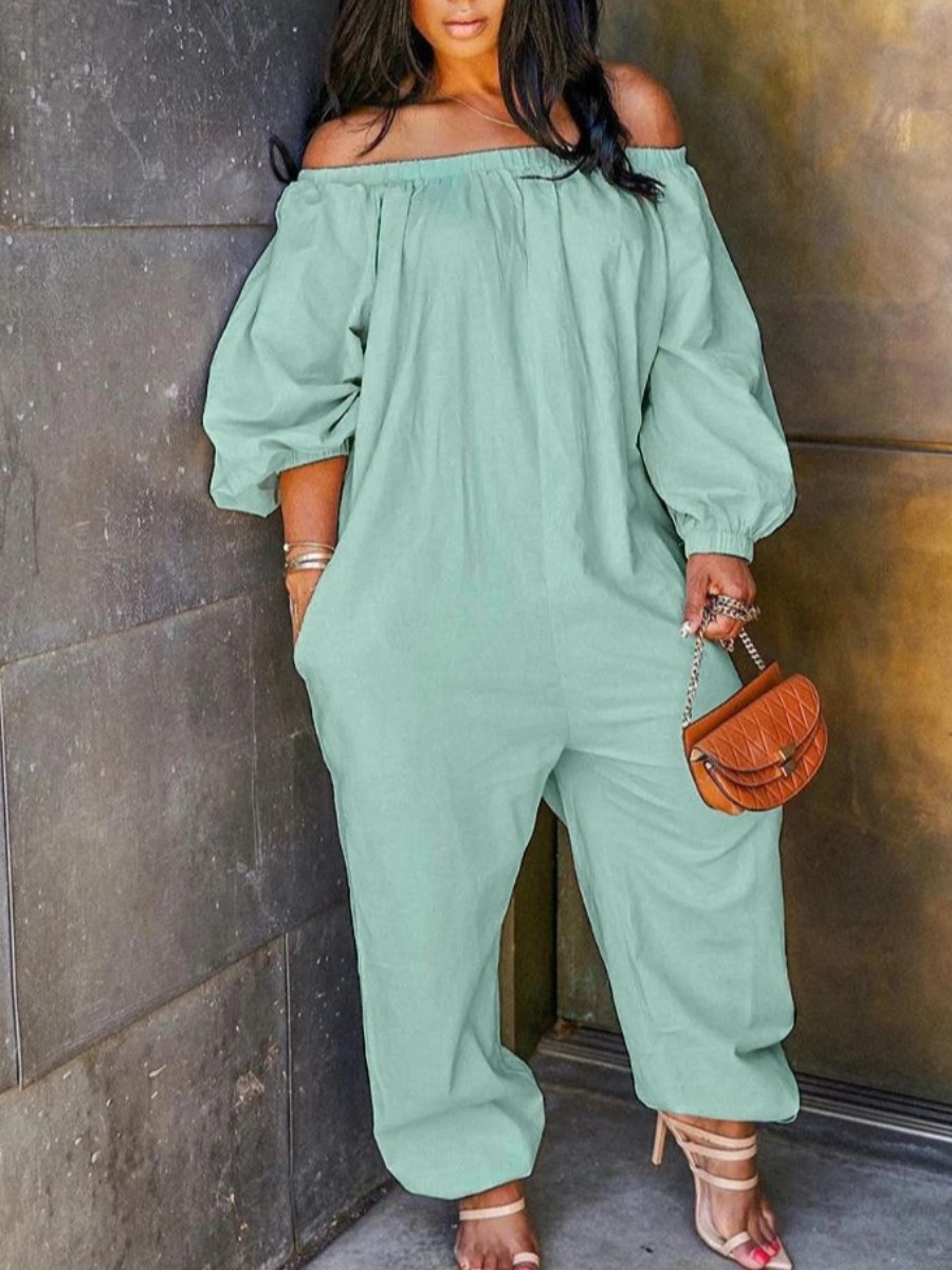 Lovely Leisure Off The Shoulder Loose Green Plus Size One-piece Jumpsuit