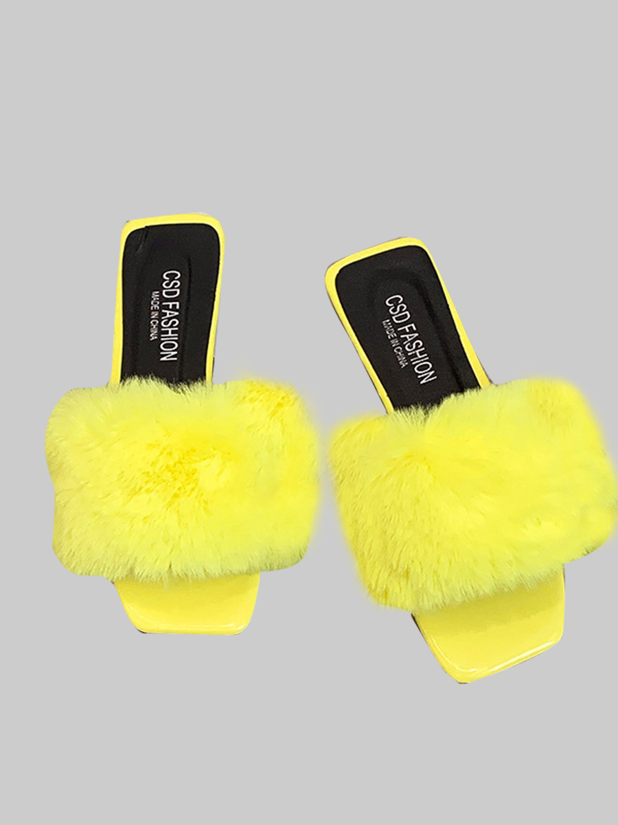LW Casual Flufffy Yellow Slippers