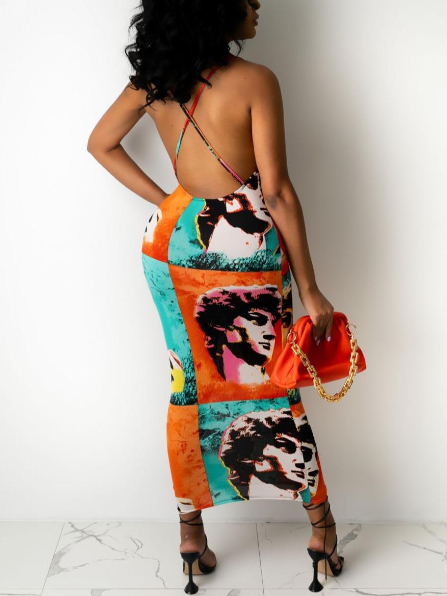 Lovely Street Graffiti Print Backless Multicolor Mid Calf Dress