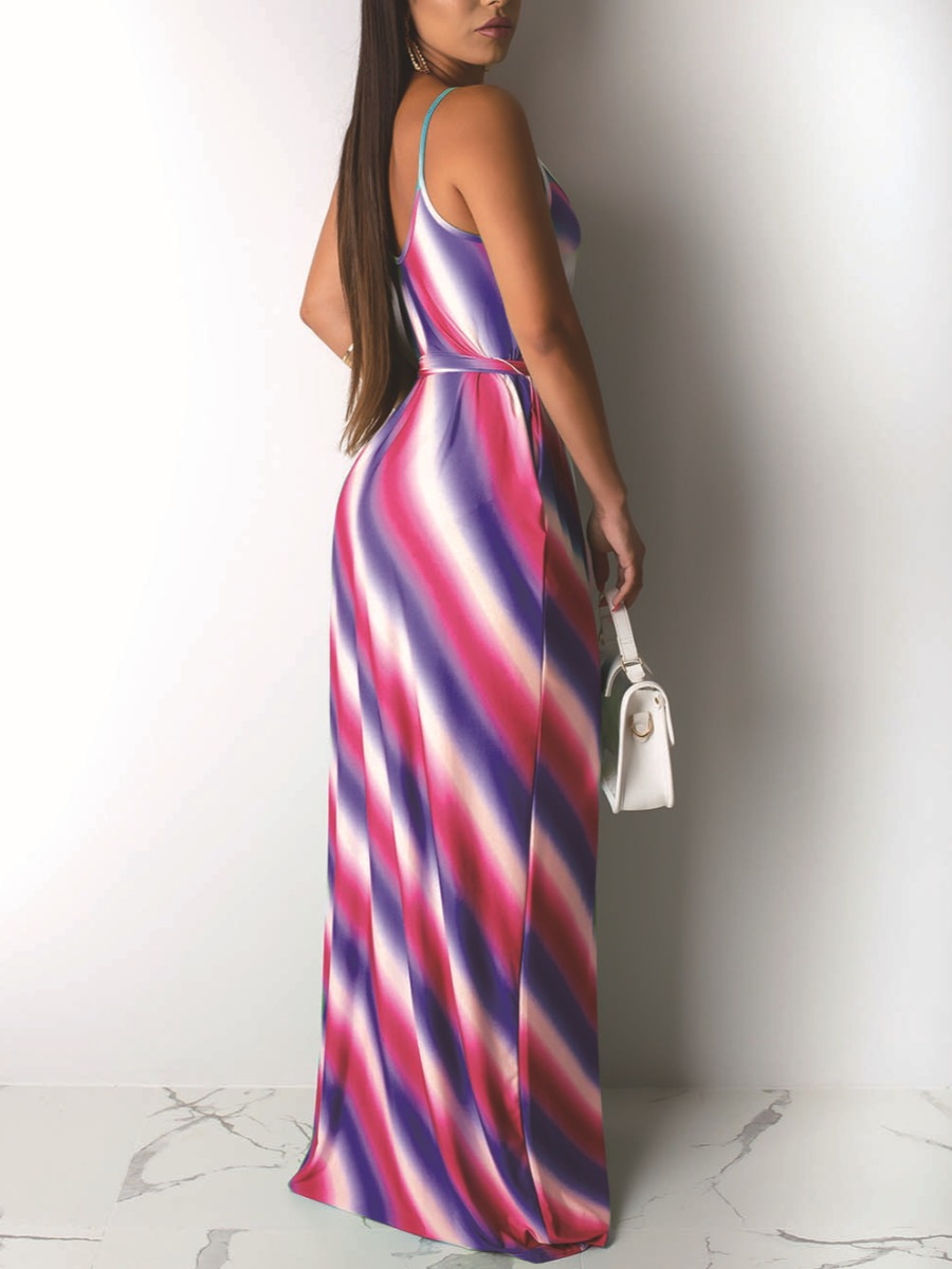 Lovely Elegant Striped Bandage Design Red Floor Length Dress