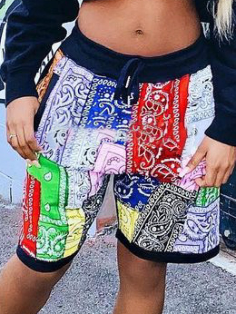 Lovelywholesale coupon: LW Casual Cashew Print Drawstring Multicolor Shorts