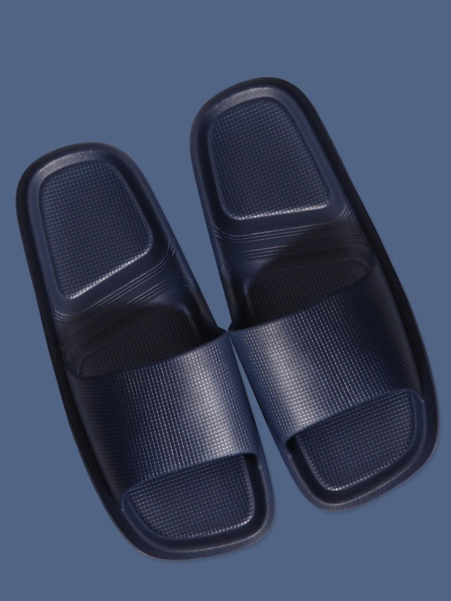 Lovely Men Casual Square-toe Navy Blue Slippers