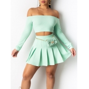 Lovely Sweet Off The Shoulder Pleated Cyan Two Piece Skirt Set