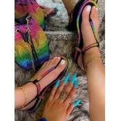 Lovely Casual Tie-dye Black Sandals