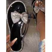 Lovely Casual Bow-tie Decoration Black Sandals