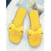 Lovely Casual Bow-tie Decoration Yellow Slippers