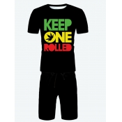 Lovely Men Casual O Neck Letter Print Black Two Piece Shorts Set