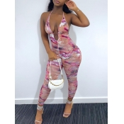 Lovely Street Backless Print Pink One-piece Jumpsuit
